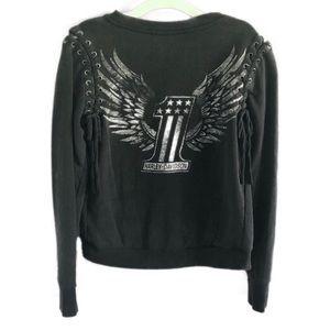 HARLEY DAVIDSON acid wash lace up eagle sweatshirt